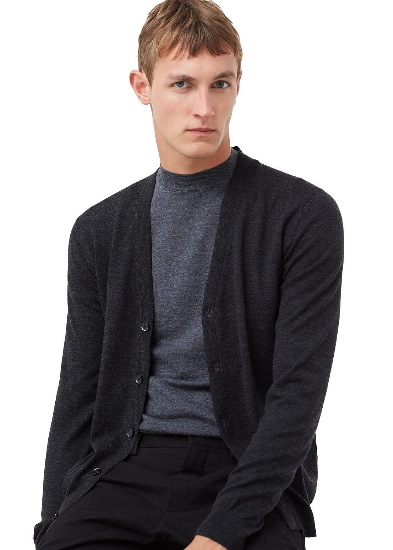 MANGO MAN - Chunky-knit wool-blend cardigan - Size:XXL - Color:Dark Heather Grey