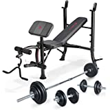 Marcy Eclipse Starter Weight Bench with 50kg Cast Iron Barbell & Dumbbell Set