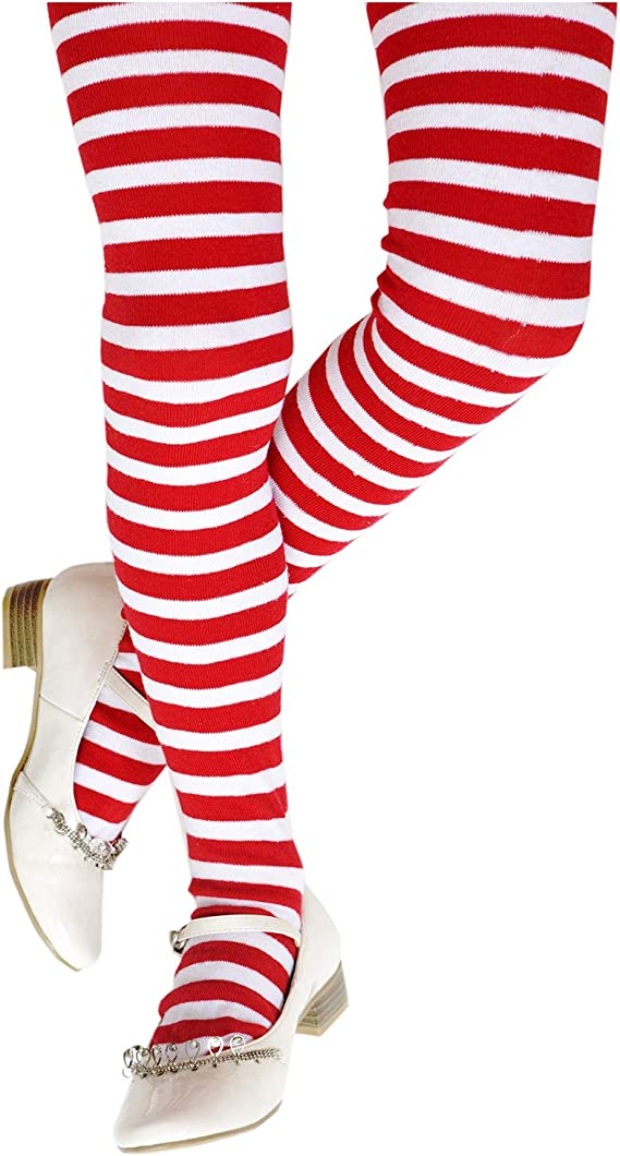 Minehobby 3 Pairs Women Christmas Striped High Socks Over Knee Long Sock for Christmas Party Costumes Cosplay