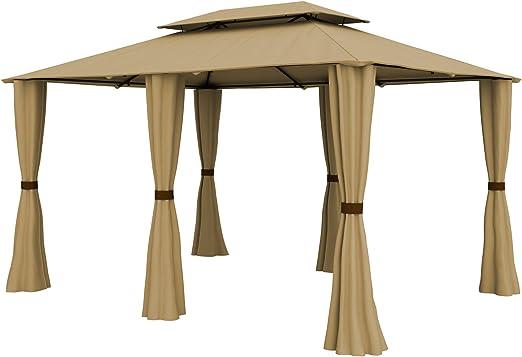 paramondo Comfort Gazebo Pabellón de jardín Cenador Resistente al Agua, 4 x 3m Incl. Paredes Laterales, Beige: Amazon.es: Jardín