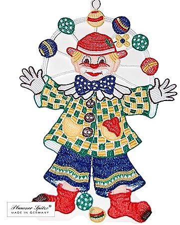 Fensterbild 22x31 Cm Saugnapf Plauener Spitze Clown Fasching
