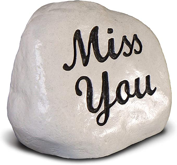 I MISS YOU rock personalized Memorial visitation stone love /& miss you Garden Kindness Pocket Stone