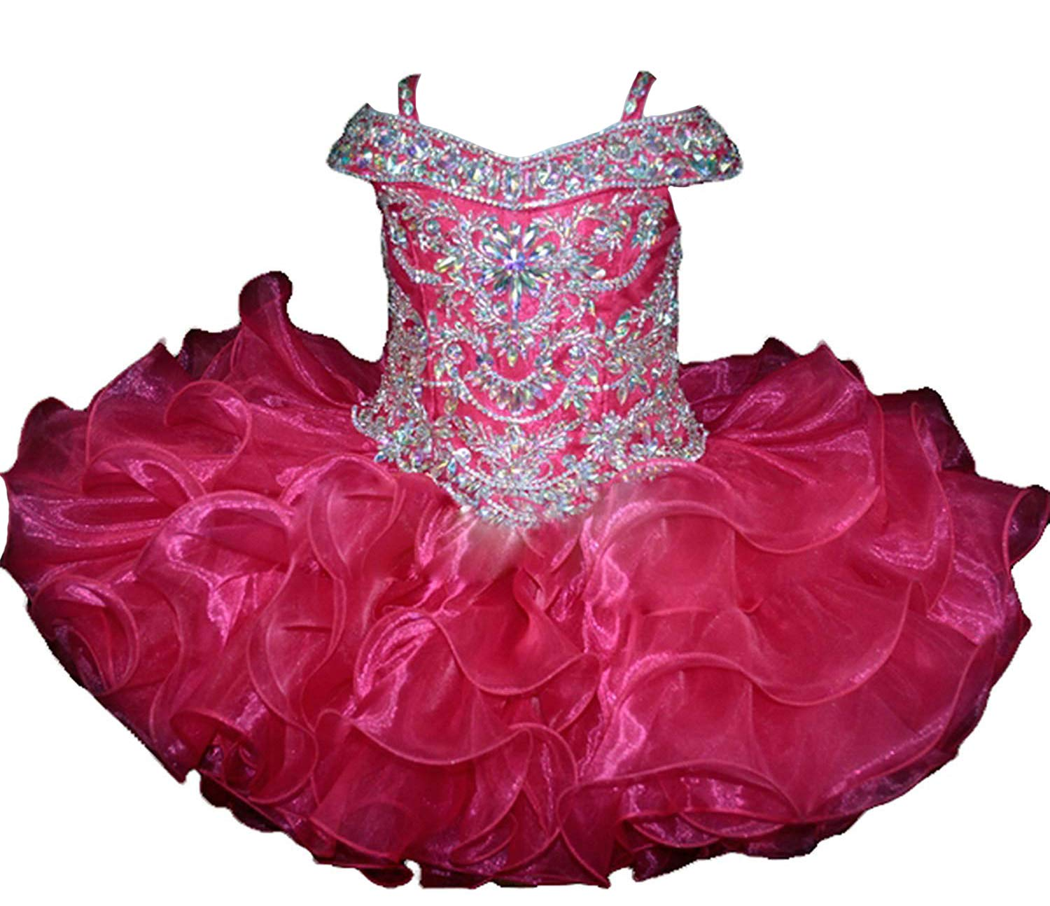 Wenli Baby Girls Sheer Neck Crystal Infant Mini Cupcake Pageant Skirt Dresses 6 US Hot Pink by Wenli