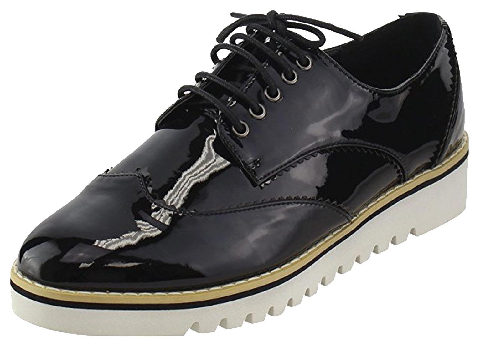 CAPE ROBBIN Women's Fashion Patent Metallic Leather Lugged Sole Flatform Lace Up Platform Oxford Sneakers Shoes (5.5 B(M) US, Black)
