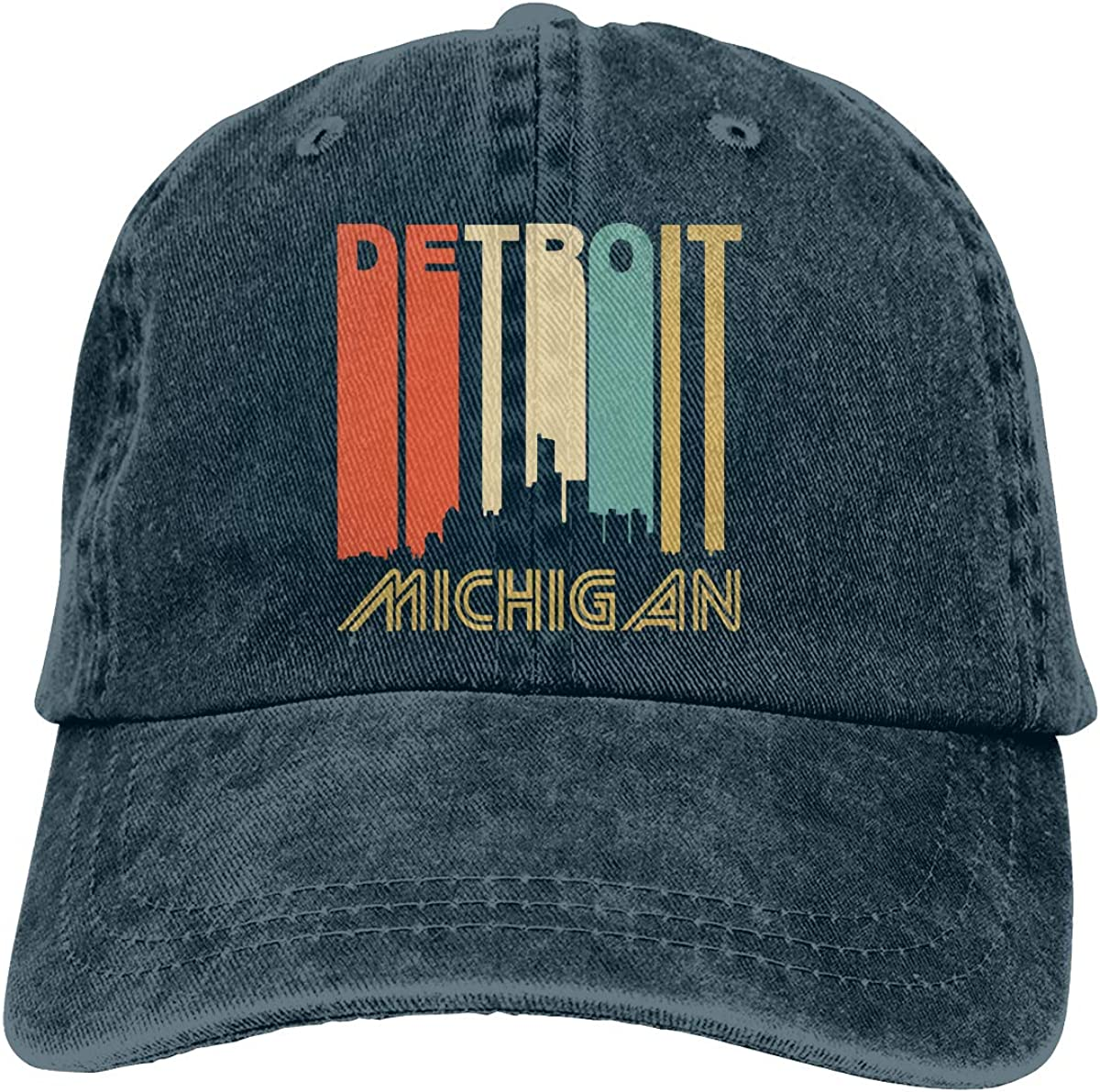 PMGM-C Retro Style Detroit Michigan Skyline Adult Trendy Denim Hip Hop Cap Adjustable Baseball Cap