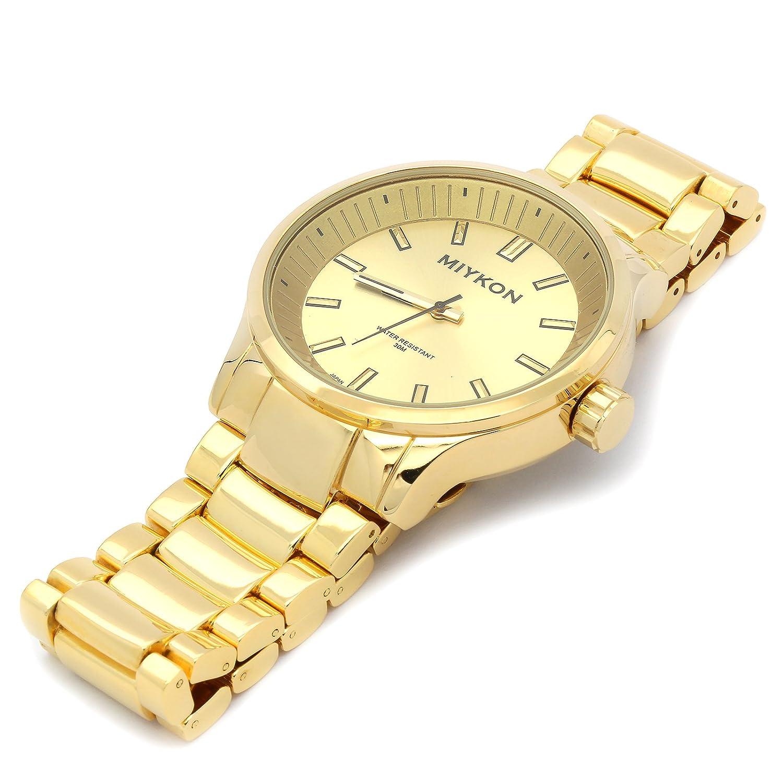 Amazon.com: Miykon Mens Gold Tone Metal Band Deep Gold Face Fashion Casual Quartz Wrist Watch: Watches