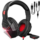 Mpow EG10 Stereo Gaming Headset for PS4, PC, Xbox One w Noise-Cancelling Mic, 50mm Speaker Drivers, Volume-Controlled, LED Li