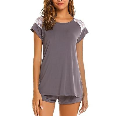 94740624e2 ADOME Mujer Comjunto de Pijama Camisa y Pantalones Corto Encaje Suvave Algodón  Modal Ropa de Dormir