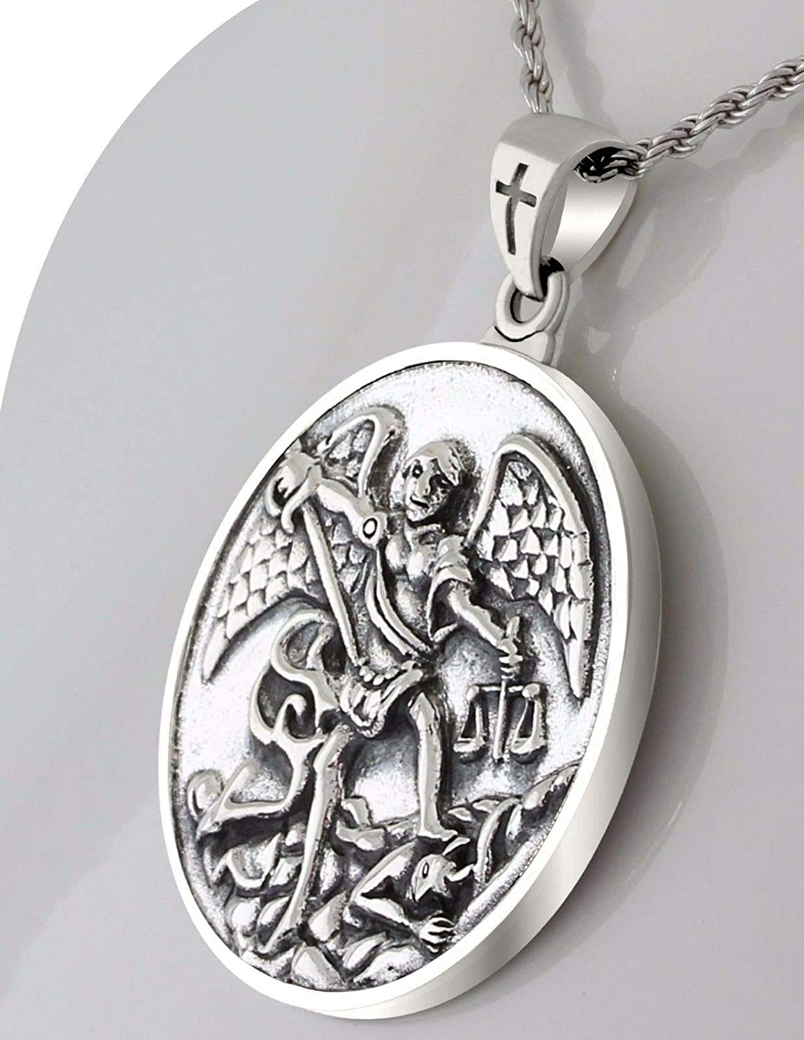 1.0in Double Sided 0.925 Sterling Silver St Saint Michael Medal Pendant Necklace