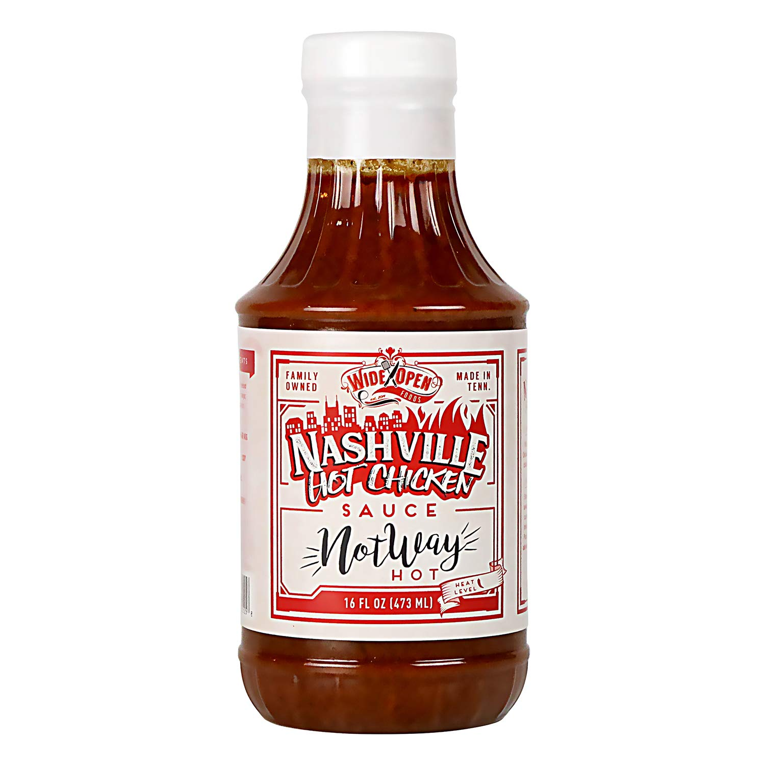 Wide Open Foods Nashville Hot Chicken Sauce - Vegan - Enhances Recipe Flavor with Health Benefits - Different Levels of Spiciness - Perfect For Home & Kitchen (Heat Level 1 - Not Way Hot, 1 Pack)