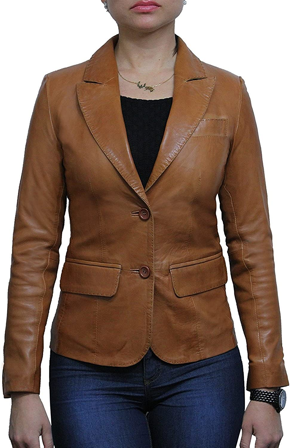 ABSY Ladies Womens Slim Fit Leather Biker Blazer Jacket Designer Look Coat