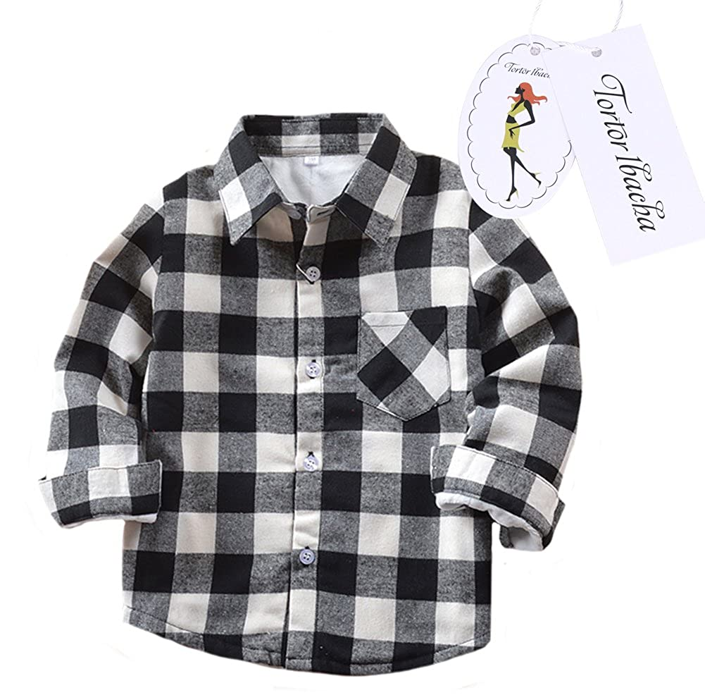 Little Girls' Long Sleeve Button Down Plaid Shirt Fleece Lined Black White 3T Tortor 1bacha ZHSJ-E004-US-JR-100