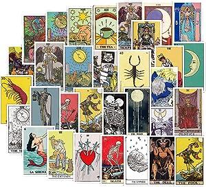 60 Pack Waterproof Removable Tarot Stickers Vintage Divination Theme Tarot Card Sticker Decals for Laptop, Travel Journal, Desktop, Luggage, Travel Mug, Tumbler, Car, Bike, Guitar and More