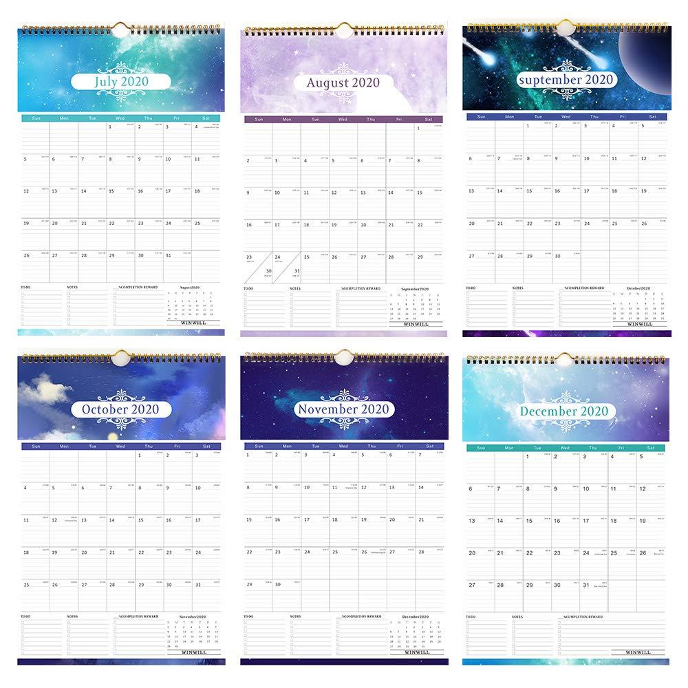 Calendar 2019-2020 Academic Year Monthly Wall Calendar 2019-2020 Wirebound 12 x 17 Calendar Planner 2019-2020 18 Month for Organizing /& Planning Starry Sky