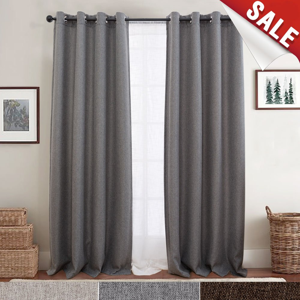 Grey Jinchan Blackout Curtains for Bedroom Linen Textured Window Curtain Panels