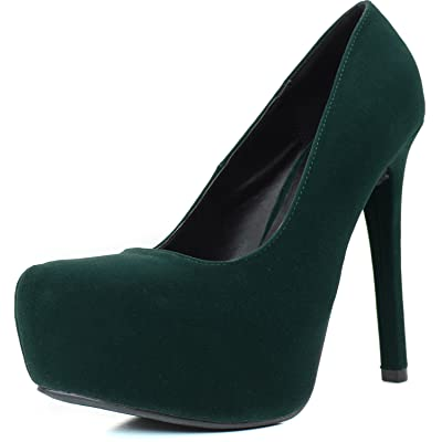 Qupid Women's High Heel Pump Low Stiletto Platform Closed Pointy Toe Heels Fashion Ankle Shoes Evening Party Round Marquise-06 Green Ve 6 | Pumps