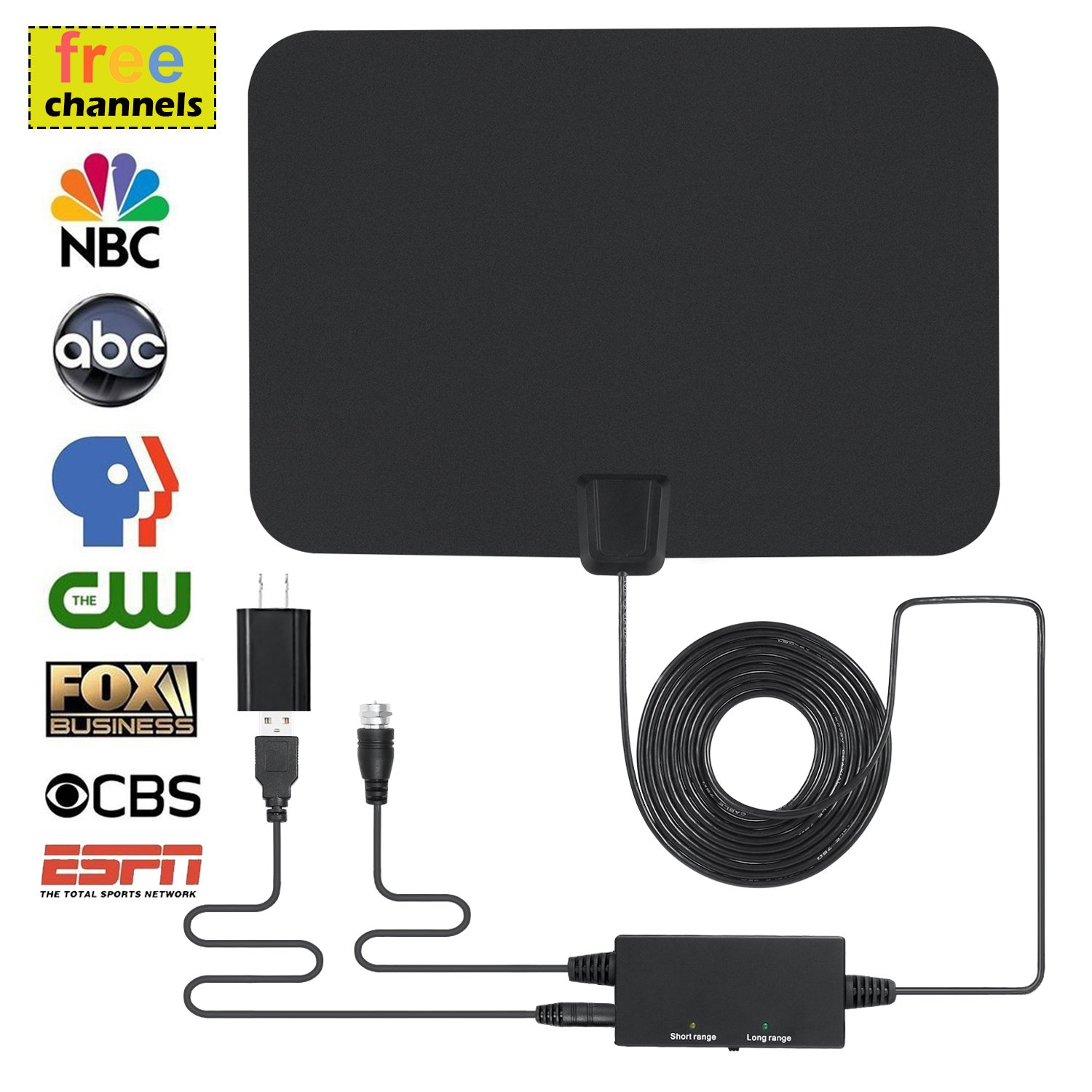 Digital TV Antenna, Indoor Amplified HDTV Antenna 60 Miles Range with Integrated Amplifier Signal Booster (Built-in Short/Long Range Switch), USB Powered 16.5Ft Coax Cable - 4K/HD/VHF/UHF Freeview by UPaitou
