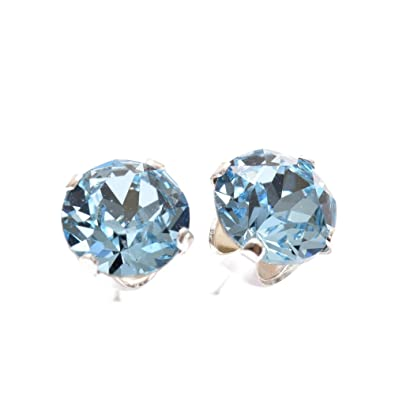 topaz blue earrings stud front