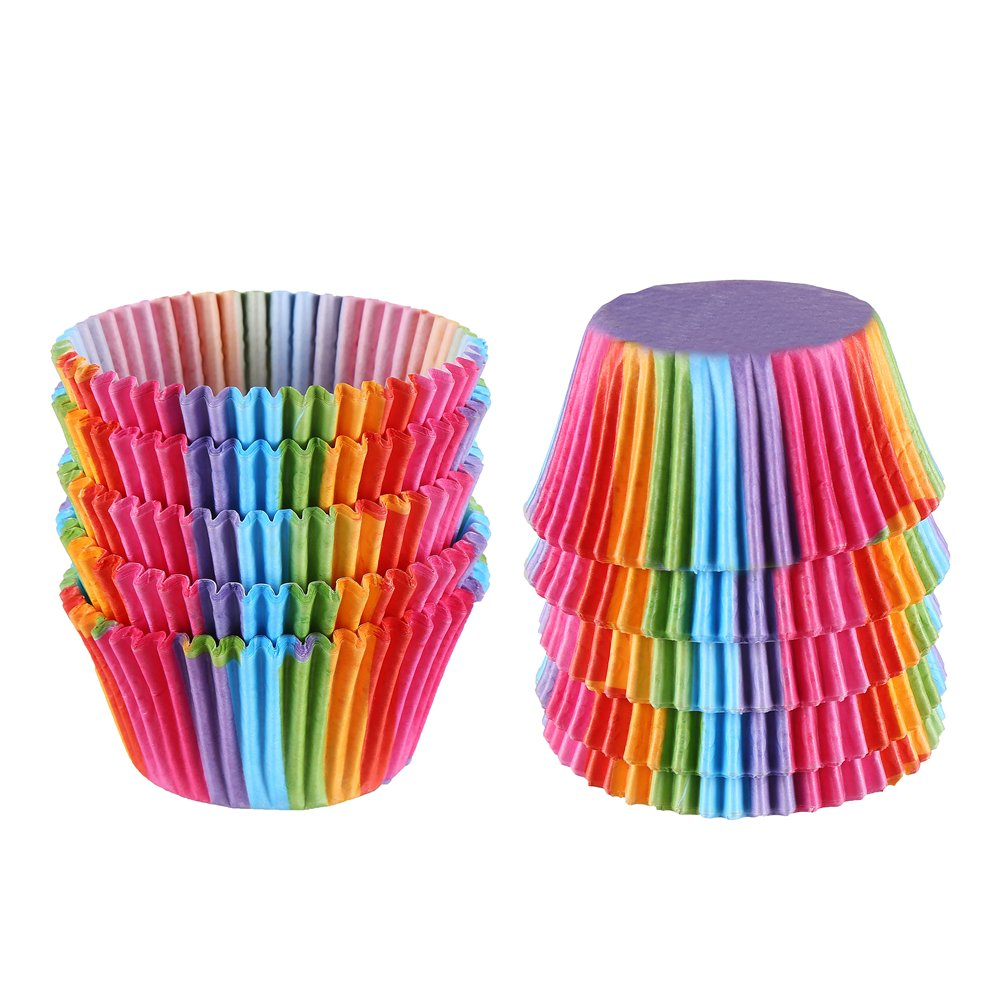 VEYLIN 200 Pieces Rainbow Cupcake Muffin Cases for Baking Christmas Wedding Birthday Party Decoration