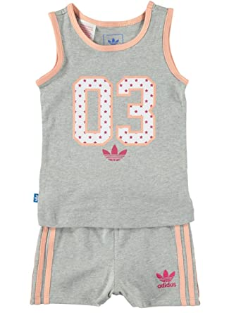 quality design 2d719 aebba adidas Originals Infant Girls Americana Tank Tee and Shorts Full Set Baby  Kids (0-