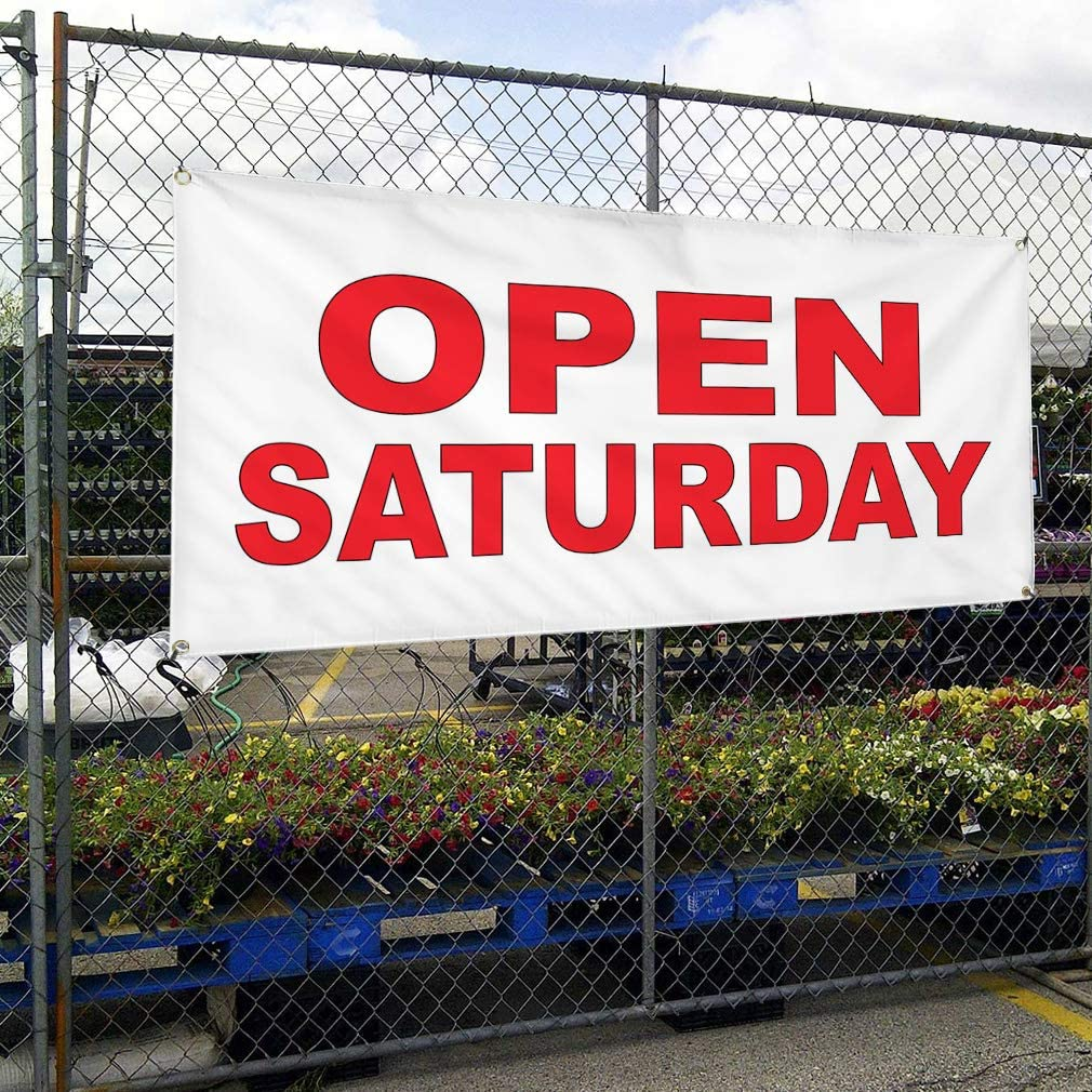 Vinyl Banner Multiple Sizes Open Saturday Red Business Outdoor Weatherproof Industrial Yard Signs 8 Grommets 48x96Inches