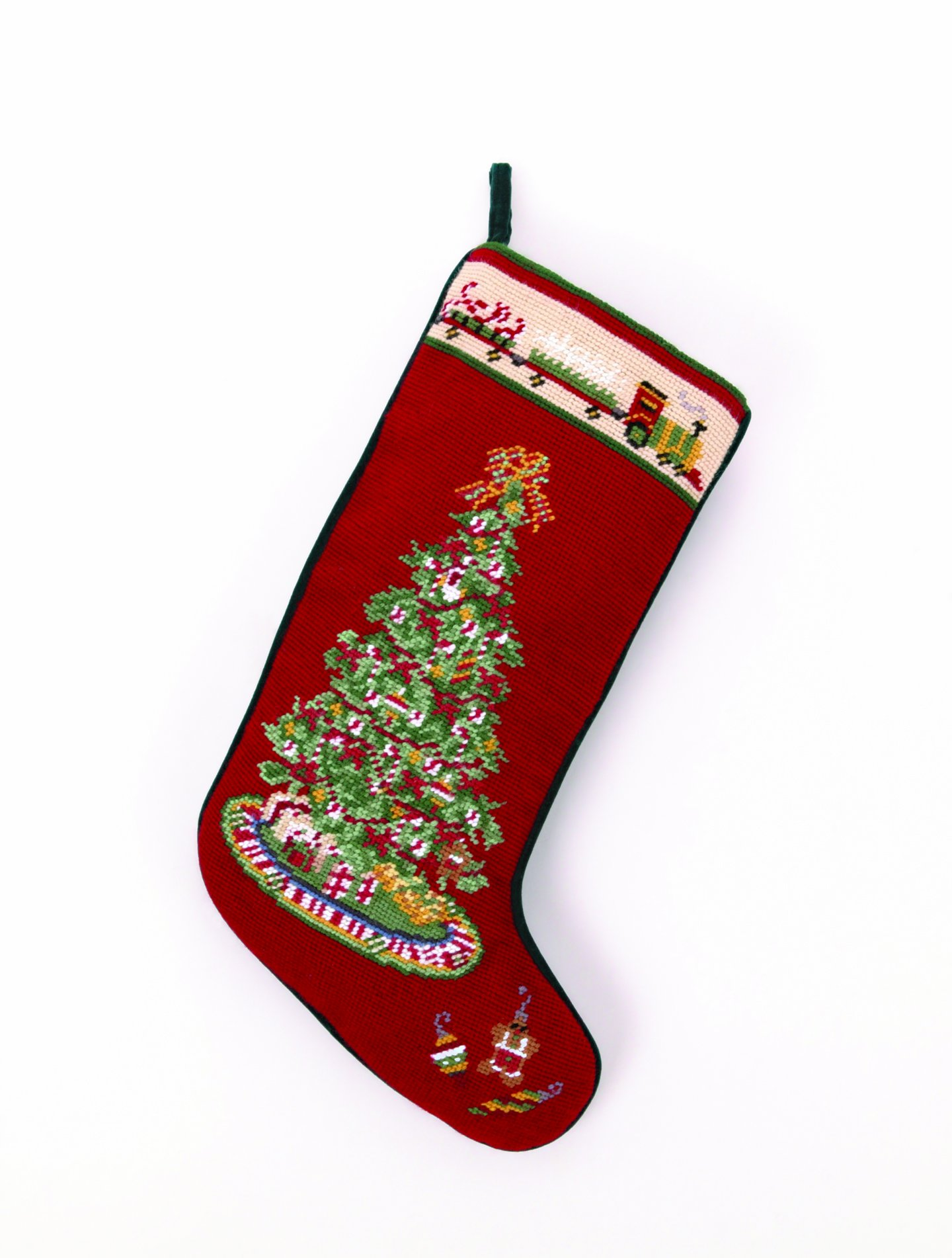 Christmas Tree with Toy Train Christmas Stocking, Wool Needlepoint, 11 Inch X 18 Inch