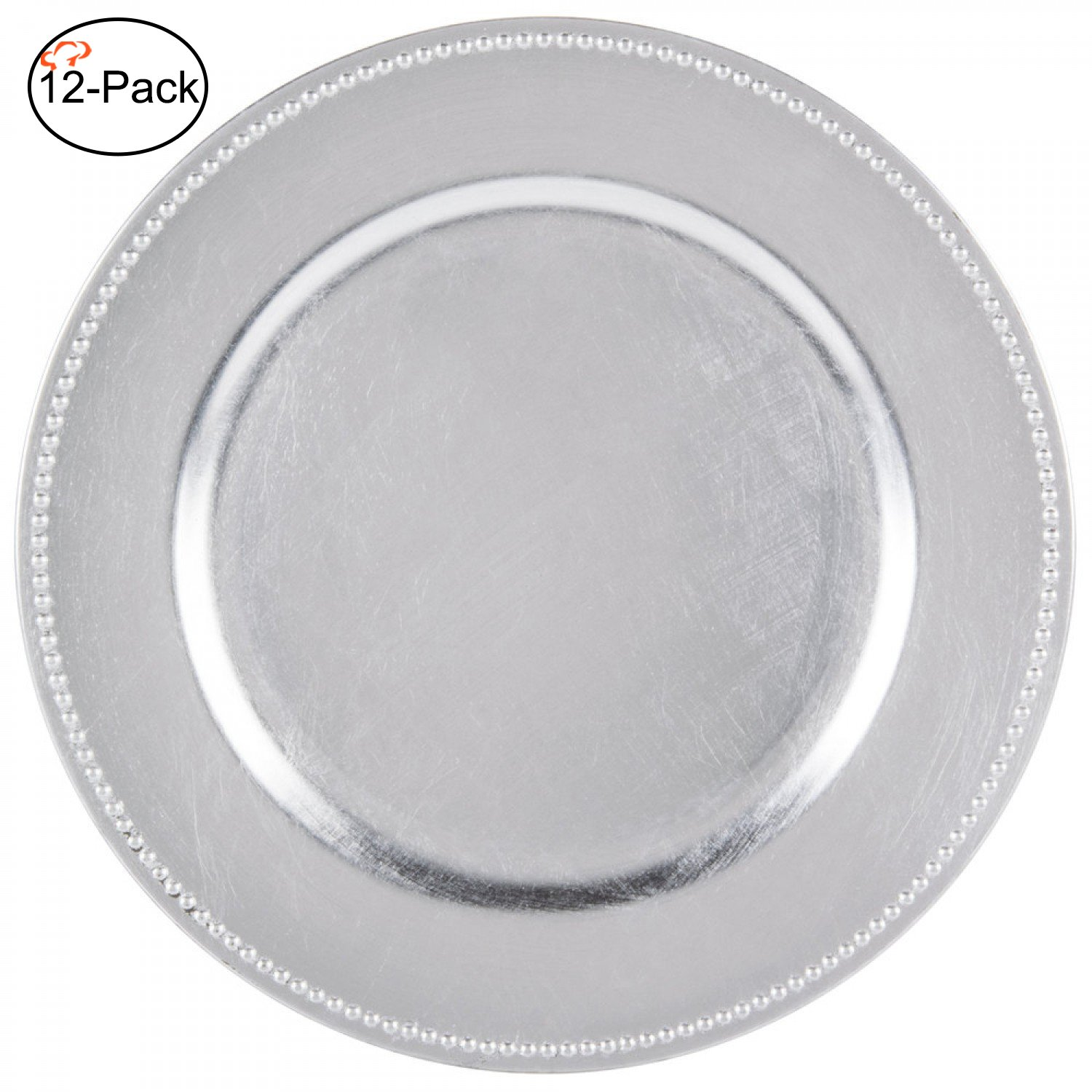 Tiger Chef 13-inch Silver Round Beaded Charger Plates, Set of 2,4,6, 12 or 24 Dinner Chargers (12-Pack Silver Chargers Plates)