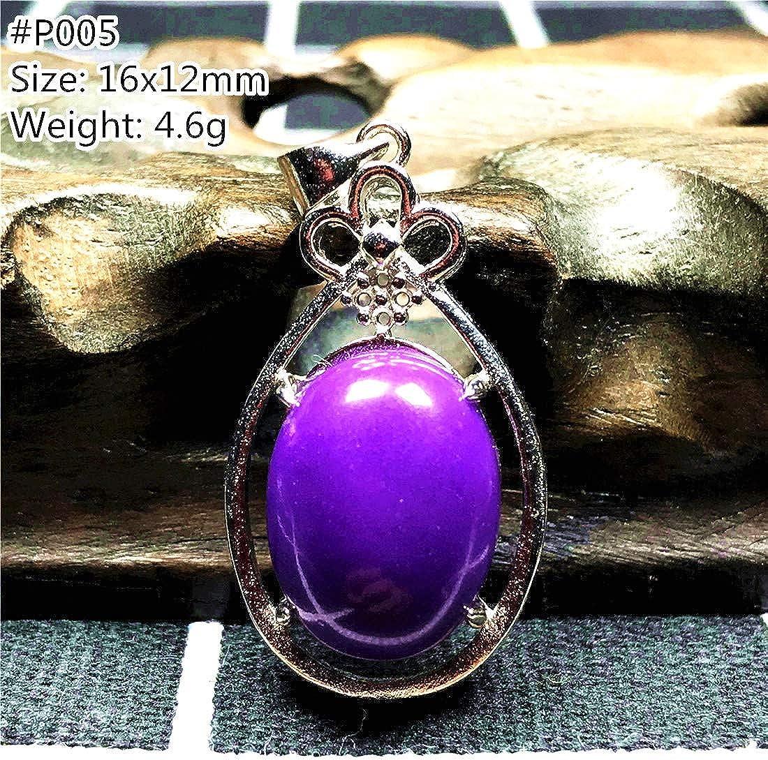 DUOVEKT 16x12mm Phosphosiderite Pendant,Natural Purple Phosphosiderite Beads Jewelry for Women Men Crystal Silver Oval Stone AAAAA