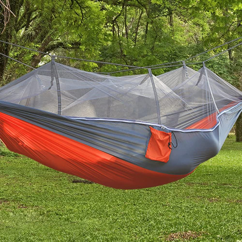 Suyi Portable Foldable Double Camping Hammock Mosquito Net Tree Hammocks Tent Travel Bed,Premium Quality Lightweight 210T Nylon,Capacity up to 441 lbs,with Strong Tree Straps,Hooks,Storage Bag
