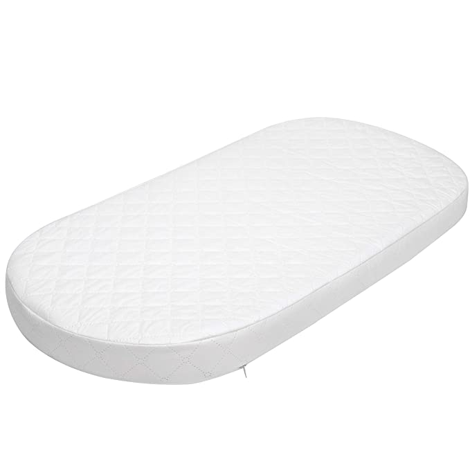 Fully Breathable Quilted Moses Basket//PRAM Oval Shaped Bassinet Soft Mattress Size 74 X 25 X 3.5 cm