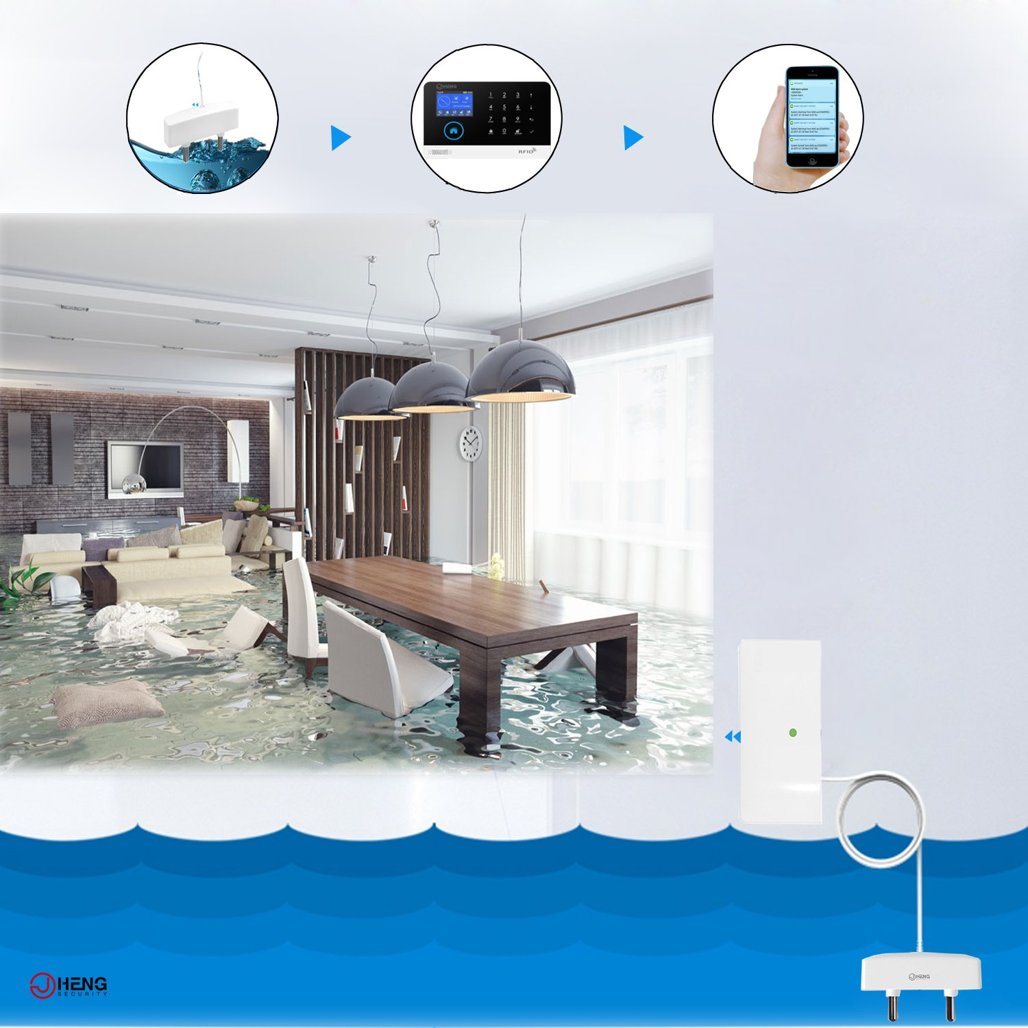 JC Wireless 433MHz Water Sensor, Flood Leakage Senor Indoor Easy Use by JCHENG SECURITY (Image #1)