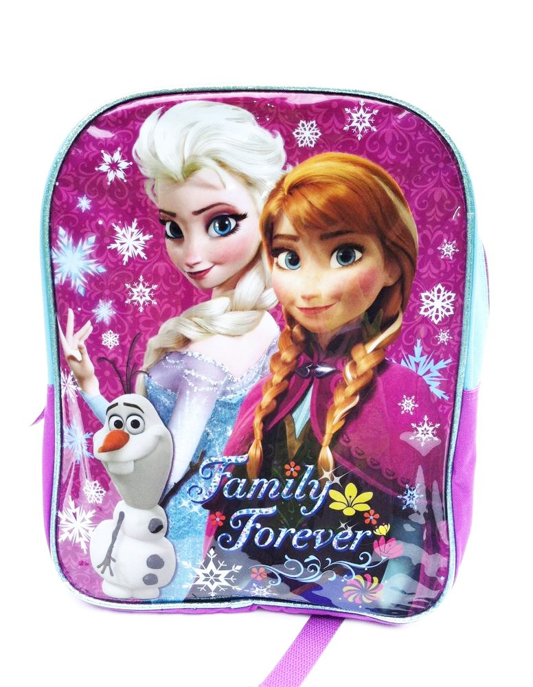 Olaf in Pink//Purple//Turquoise Disney Frozen 16 Sparkle Backpack with Elsa Anna