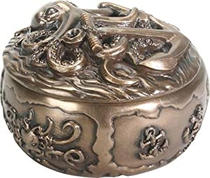 SUMMIT COLLECTION Kraken with Anchor Guardian Deep Sea Fantasy Bronze Colored Resin Trinket Box, 4 Inches