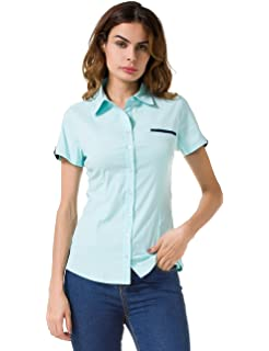 d2f27eb810b32 Nordicwinds Womens Blouse Simple Basic Fitted Short Sleeve Button Down  Shirts