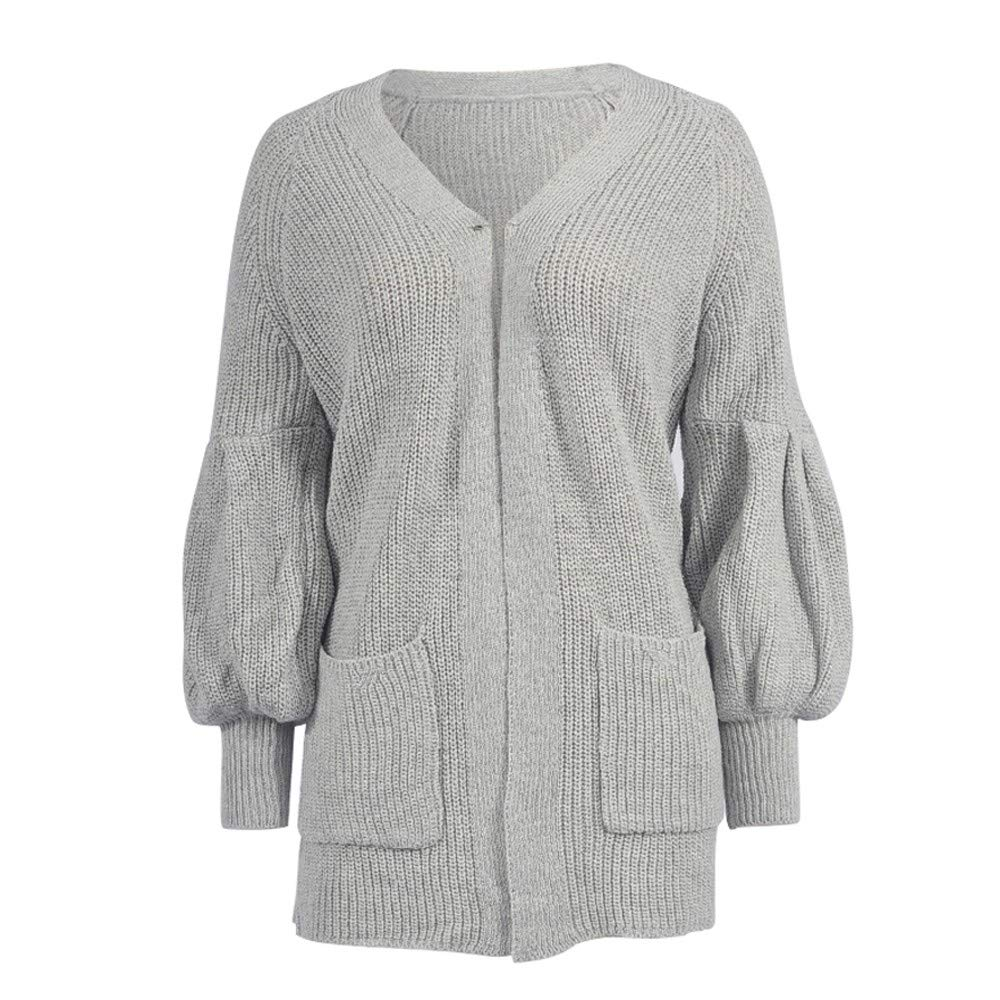 GIFC Plus Size Womens Solid Long Sleeve Fashion Ladies Pocket Cardigan Tops Sweater Coat Blouses by GIFC (Image #4)