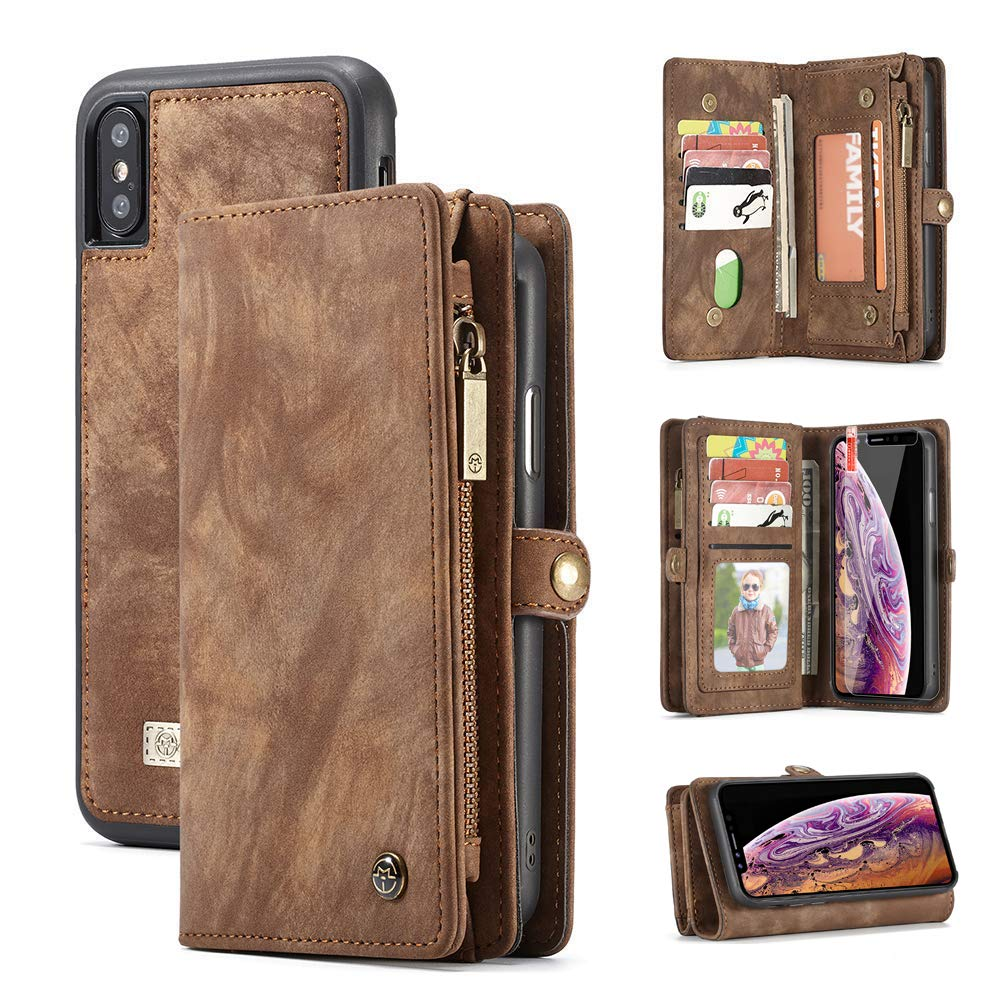 iPhone X iPhone Xs Wallet Case,Zttopo 2 in 1 Leather Zipper Detachable Magnetic 11 Card Slots Card Slots Money Pocket Clutch Cover with Free Screen Protector for 5.8 Inch iPhone Case -Brown
