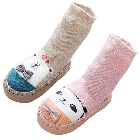 LIUCHENGHANG - Pack de 2 Pares de Calcetines Largos Antideslizantes Estampado Animal para Niños Niñas Anti