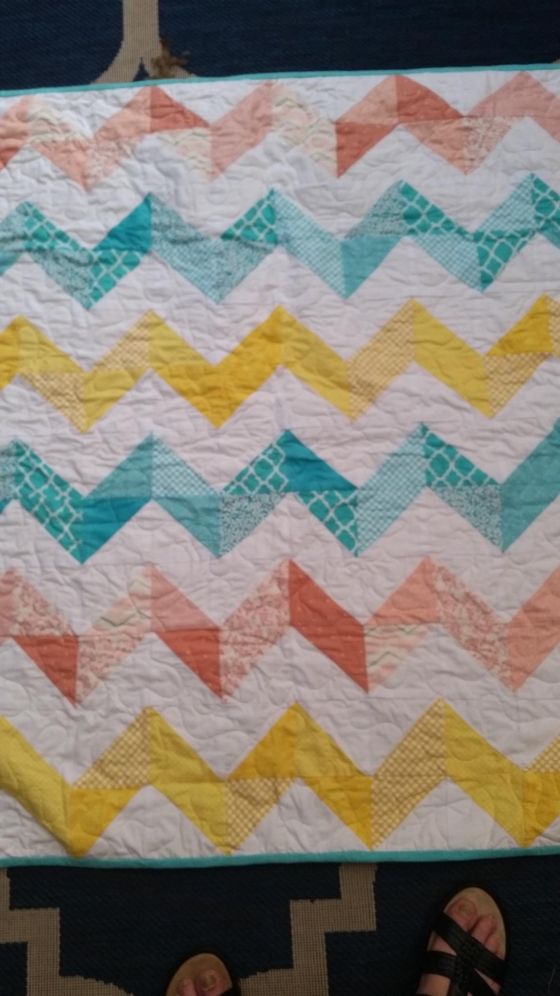 Chevron Crib Quilt, Zig Zag Crib Quilt, Gender Neutral Crib Quilt, Coral, Teal, Yellow, Pieced Quilt, Handmade Quilt, Homemade Quilt, Girl Crib Bedding, Boy Crib Bedding