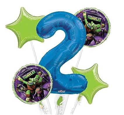 Amazon.com: Ninja Turtles Balloon Bouquet 2nd Birthday 5 pcs ...