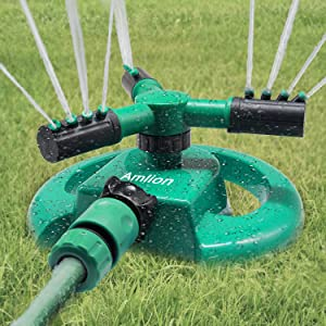 Amlion Garden Sprinkler,3 Nozzles Lawn Sprinklers for Yard, 360°Automatic Rotating Water Sprinkler System, Green and Black, 22x22x12 cm (Green)