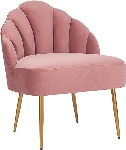 Amazon Brand Rivet Sheena Glam Tufted Velvet Shell Chair, 23.5 W, Rose