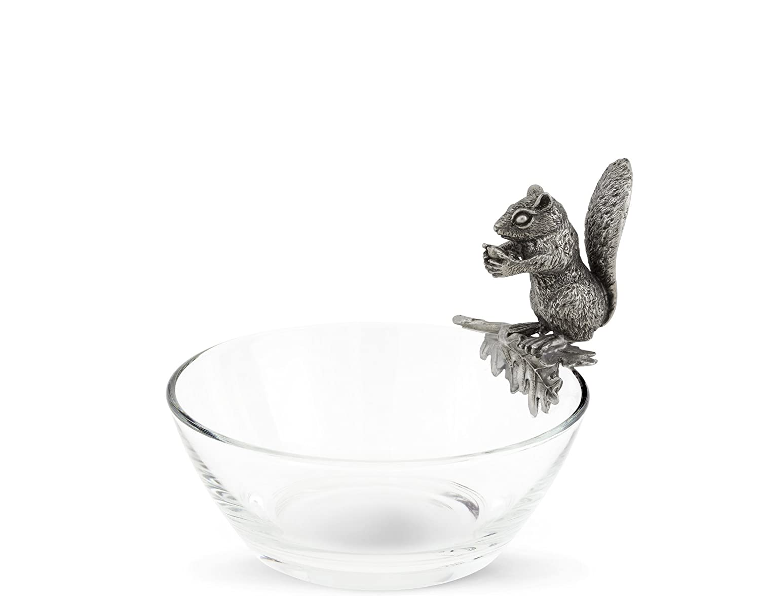 Vagabond House Glass Nut Bowl with Pewter Perched Squirrel 6
