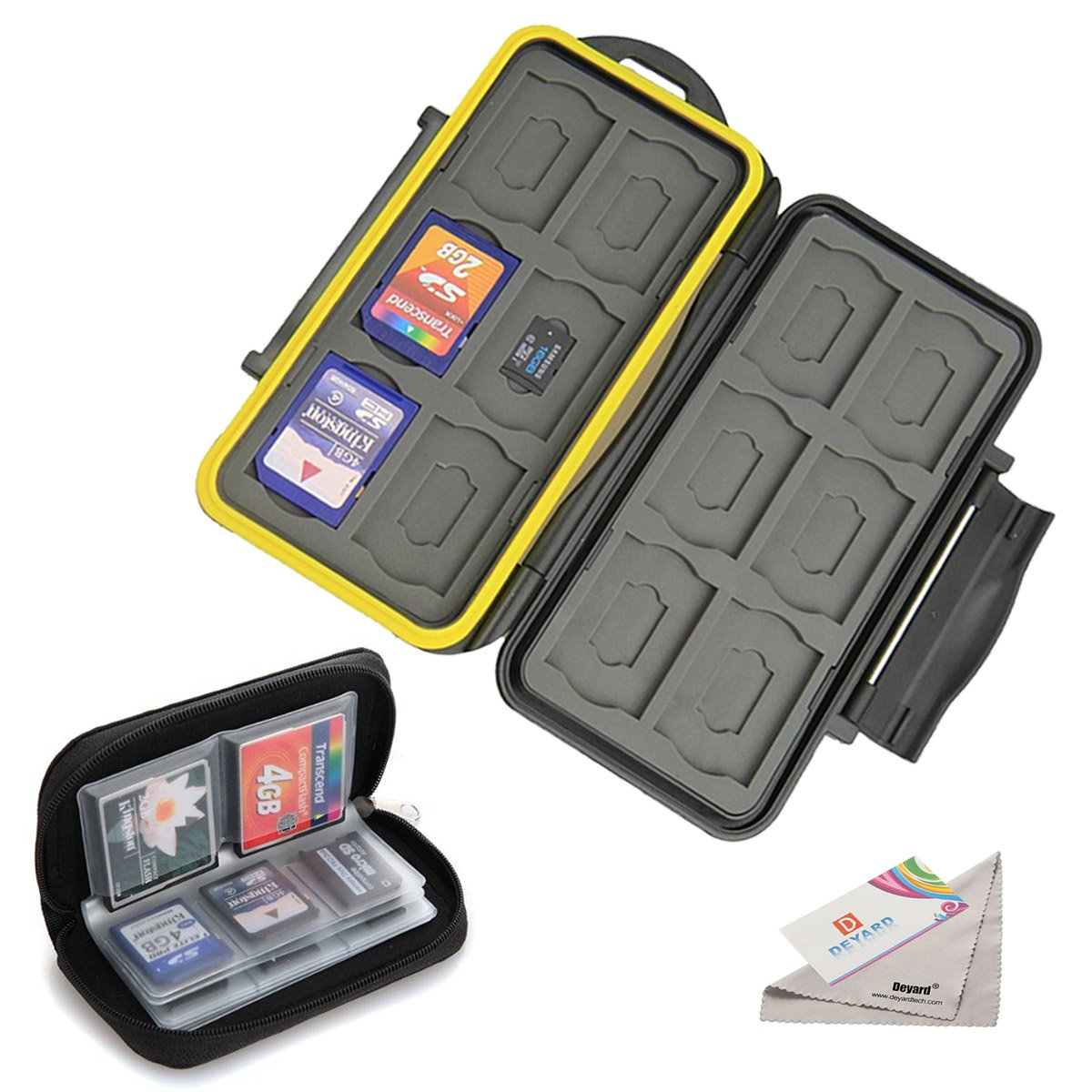 Deyard Water-resistant Memory Card Case Shockproof Memory Card Carrying Box 24 Slots + Pouch Zippered Storage Memory Card Bag 22 Slots for SD SDHC MMC CF Micro SD Cards Deyard Tech K020-02