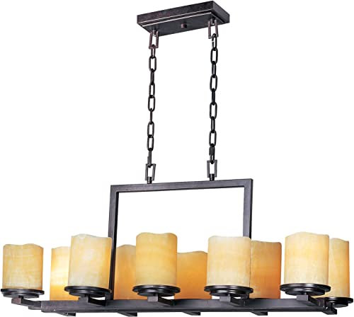 Maxim 21149SCRE Luminous Stone Candle Glass Linear Chandelier