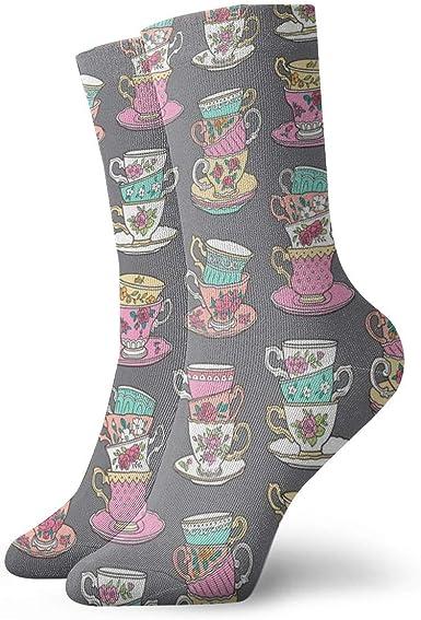 Helen vi - Calcetines de mujer cortos, algodón, tazas de té apiladas con rosas vintage, flores sobre gris oscuro, Smaller_4283, 100% algodón antideslizante, para hombre y mujer, talla única: Amazon.es: Ropa y