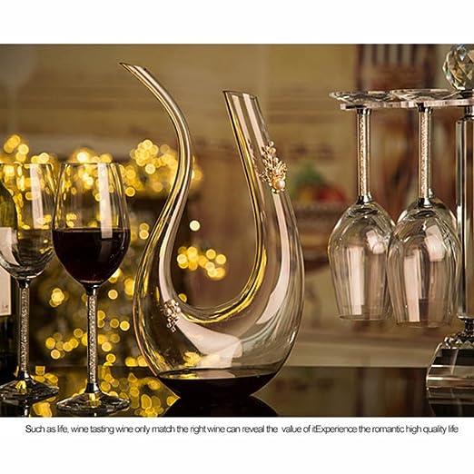 yiyang Wine Decanter, Inflador De Vino, Botella De Vino Rojo, Regalo De Vino Accesorios para El Vino Cristal Vaso Manual, Rápido Vino Tinto Licorera, ...