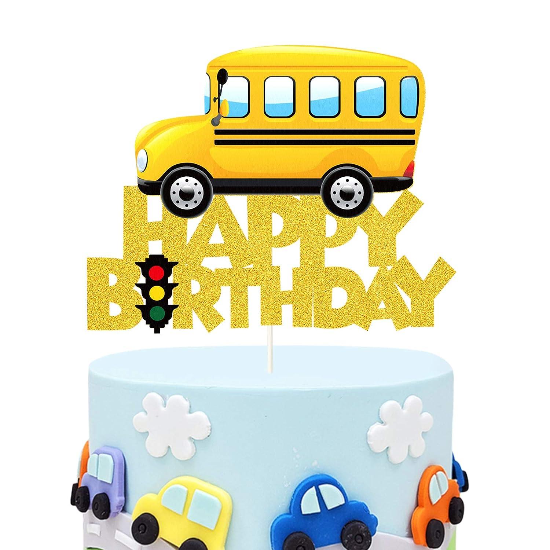 Glitter School Bus Cake Topper Happy Birthday Theme Cake Decor, Child Boys Girls School Themed Party Supplies