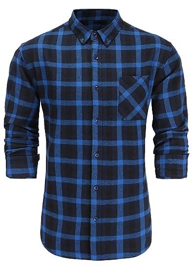 50c548fc183a9 Emiqude Men s Slim Fit Flannel Cotton Long Sleeve Button-Down Plaid Dress  Shirt Small Blue