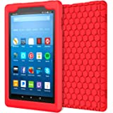MoKo Case for All-New Amazon Fire HD 8 Tablet (7th and 8th Generation, 2017 and 2018 Release) - [Honey Comb Series] Light Weight Shock Proof Soft Silicone Back Cover [Kids Friendly] for Fire HD 8, RED
