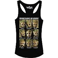 Los Guardianes de la Galaxia Camisetas sin Mangas del bebé Groot Expresiones para Vol. 2 Marvel Negros de algodón